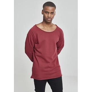 URBAN CLASSICS Sweatshirt Long Open Edge Terry Burgunder