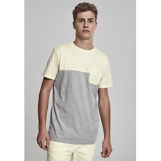 URBAN CLASSICS T-Shirt Color Block Summer Pocket grau/gelb