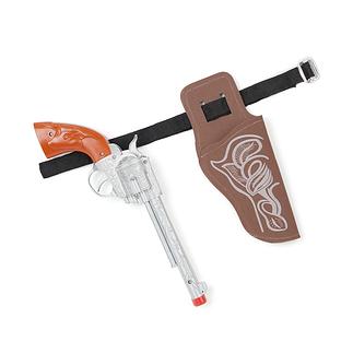 Karnevals- Pistole mit Holster für Kinder Cowboy braun/silber