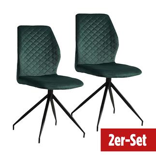 BREAZZ Stuhl Coupole Velvet 2er Set dunkelgrün