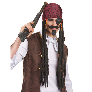 Karnevals- Perücke Pirat mit Dreadlocks schwarz