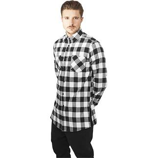 URBAN CLASSICS Hemd Side-Zip Long Checked Flanell Schwarz/Weiß