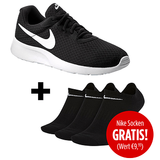 Nike Herren Sneaker Tanjun inkl. 3er Pack Socken gratis Schwarz/Weiß