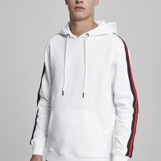 URBAN CLASSICS Hoodie Stripe Shoulder weiß/schwarz/rot