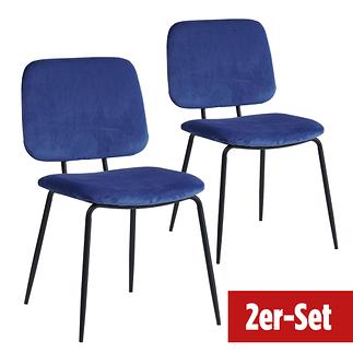 BREAZZ Stuhl School Velvet 2er Set blau