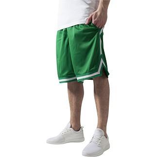 URBAN CLASSICS Shorts Stripes Mesh Dunkelgrün/Weiß