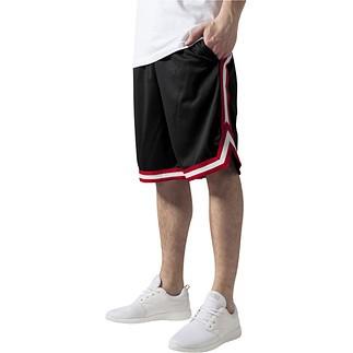 URBAN CLASSICS Shorts Stripes Mesh Schwarz/Rot/Weiß
