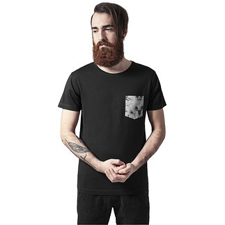 URBAN CLASSICS T-Shirt Contrast Pocket schwarz/marmor