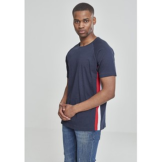 URBAN CLASSICS T-Shirt Ragland Side Stripe navy/rot/weiß