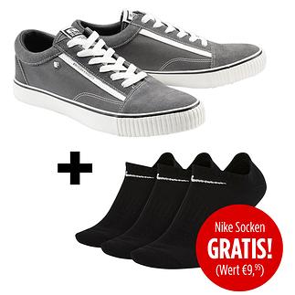British Knights Sneaker Mack Canvas Suede inkl. 3er Pack Nike Socken gratis Grau