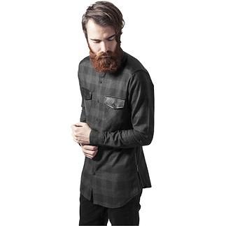 URBAN CLASSICS Hemd Side Zip Leather Shoulder Flanell schwarz/grau