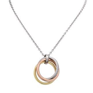 S. Oliver Damen Halskette 70 cm mit Anhänger (3 Ringe) Gold/Silber/Rosegold