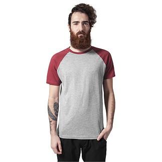 URBAN CLASSICS T-Shirt Raglan Contrast Grau/Ruby
