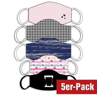 5er Set Mund-Nase Maske Familie Bunt