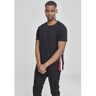 URBAN CLASSICS T-Shirt Ragland Side Stripe schwarz/rot/weiß