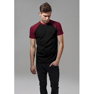URBAN CLASSICS T-Shirt Raglan Contrast schwarz/burgunder