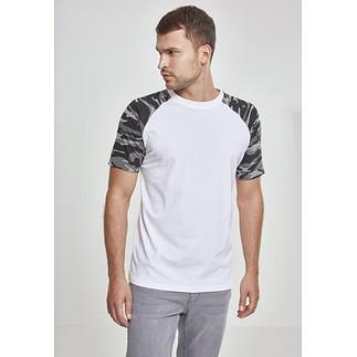 URBAN CLASSICS T-Shirt Raglan Contrast weiß/dark camo