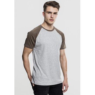 URBAN CLASSICS T-Shirt Raglan Contrast grau/grün