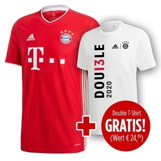 Adidas FC Bayern München Heim Trikot 20/21 plus Double Shirt gratis