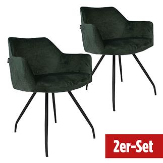BREAZZ Stuhl Neola Velvet 2er Set dunkelgrün