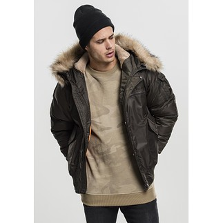 URBAN CLASSICS Bomberjacke Hooded Heavy Fake Fur olive