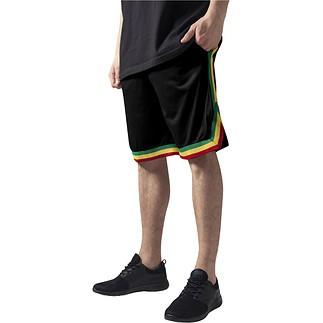 URBAN CLASSICS Shorts Stripes Mesh Schwarz/Rasta