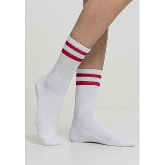 URBAN CLASSICS Socken 2-Stripe 2er-Pack weiß/rot