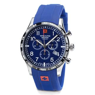 Swiss Alpine Military Herrenuhr Chronograph mit Silikonarmband Blau