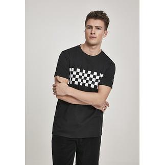 URBAN CLASSICS T-Shirt Check Panel schwarz/weiß