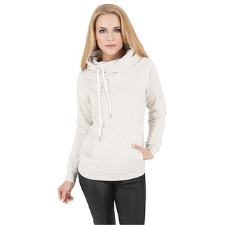URBAN CLASSICS Hoodie Raglan High Neck Damen Weiß