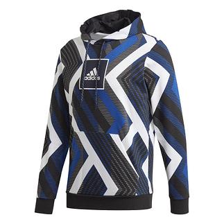 Adidas Hoodie M AOP Weiß/Blau