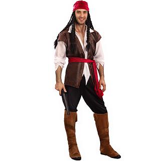 Karnevals- Kostüm Verruchter Pirat braun/weiß/rot