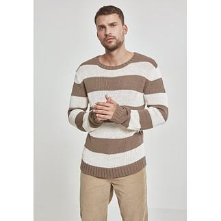 URBAN CLASSICS Sweatshirt Striped beige/weiß
