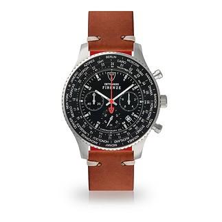 DETOMASO FIRENZE XXL Herren Armbanduhr Chronograph Silber/Schwarz/Braun