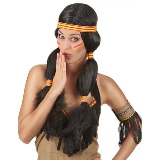Karnevals- Perücke Indianerin Damen schwarz