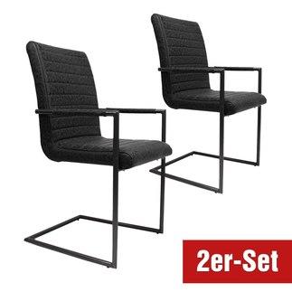 BREAZZ Stuhl Monza 2er Set schwarz/anthrazit