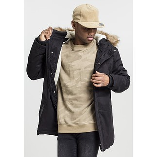 URBAN CLASSICS Parka Heavy Cotton Imitation Fur schwarz