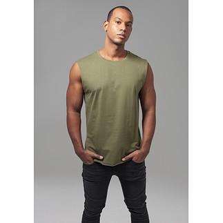 URBAN CLASSICS T-Shirt Open Edge Sleeveless olive