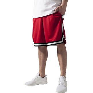 URBAN CLASSICS Shorts Stripes Mesh Rot/Schwarz/Weiß