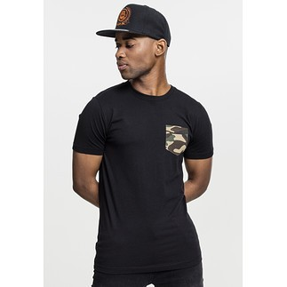 URBAN CLASSICS T-Shirt Camo Pocket Schwarz/Camouflage