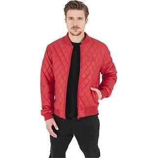 URBAN CLASSICS Jacke Diamond Quilt Leather Imitation Rot