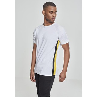 URBAN CLASSICS T-Shirt Ragland Side Stripe weiß/schwarz/gelb