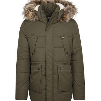URBAN CLASSICS Winterjacke Faux Fur Hooded oliv