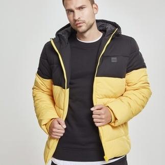 URBAN CLASSICS Winterjacke 2-Tone Hooded Puffer gelb/schwarz
