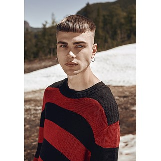 URBAN CLASSICS Sweatshirt Striped schwarz/rot