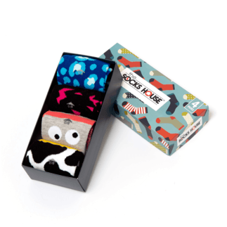 The Socks House Damensocken 4er Pack Geschenkbox Wild bunt