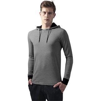 URBAN CLASSICS Hoodie Stripe schwarz/weiß