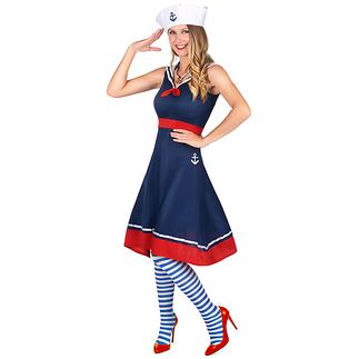 Karnevals- Kostüm Marine Kostüm für Damen blau/rot/weiß