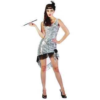 Karnevals- Kostüm Charleston mit Pailletten Damen silber/schwarz