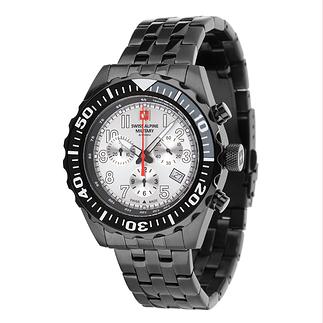 Swiss Alpine Military Herrenuhr Chronograph mit Edelstahl Armband Schwarz